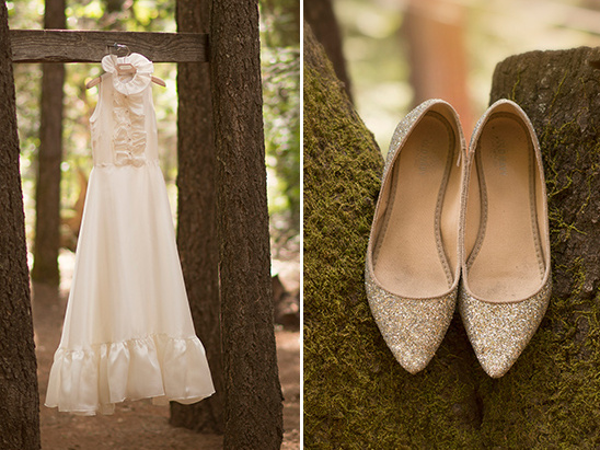 gold glitter shoes and tea length gown