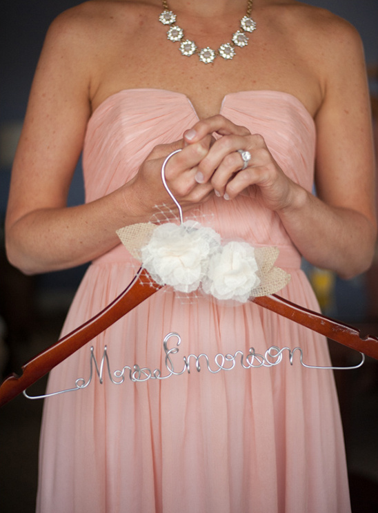 personalized hanger with floral embellishments