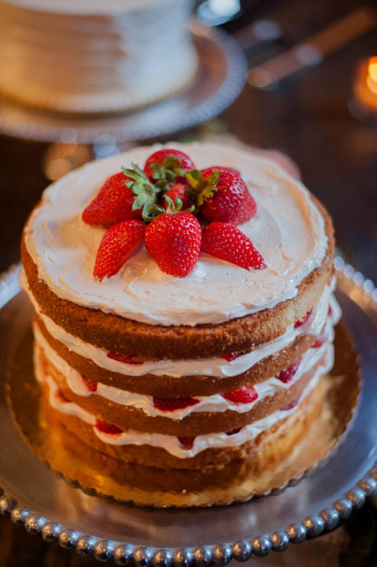 strawberry topped naked cake