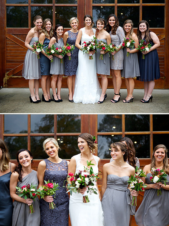 different styles of gray bridesmaid dresses