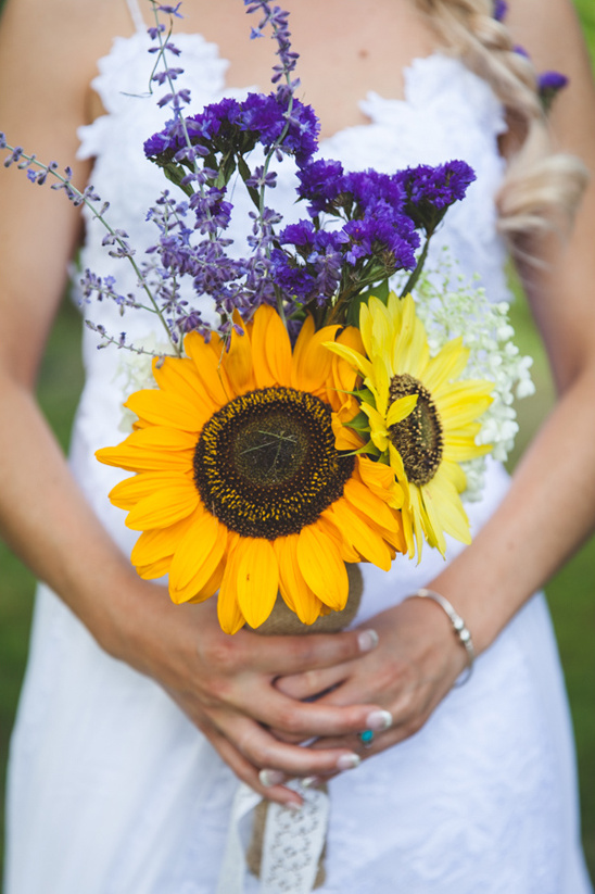 sun flower and wild flower bouquet