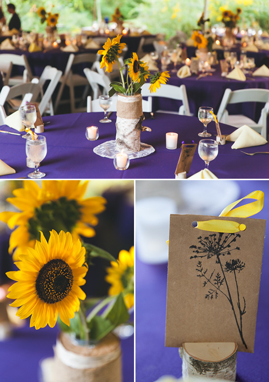 wild flower seed favors and sun flower themed table decor. wedding hair  ideas