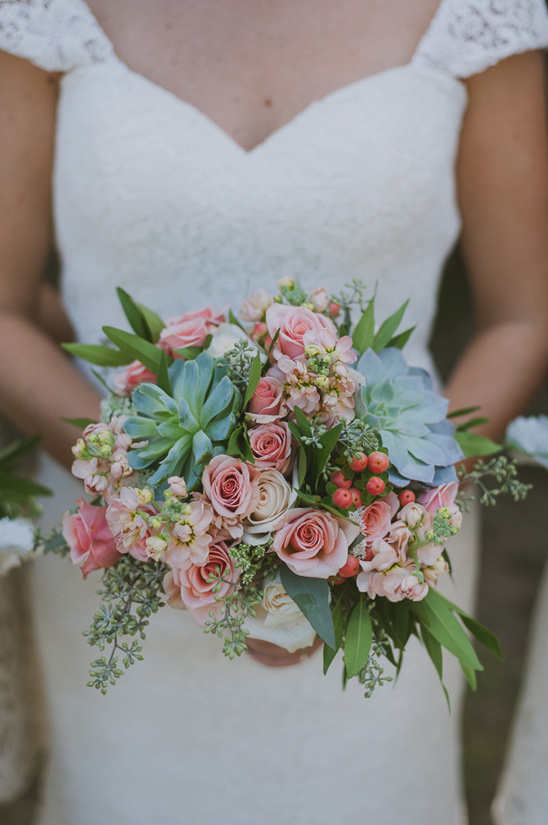 succulent and rose bouquet by Wild Bunches Floral
