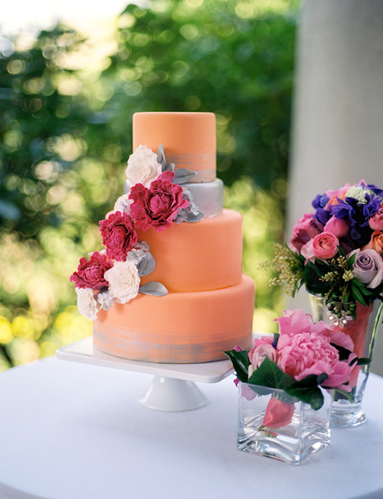 peach silver wedding cake