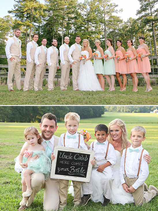 mint and peach wedding bridal party