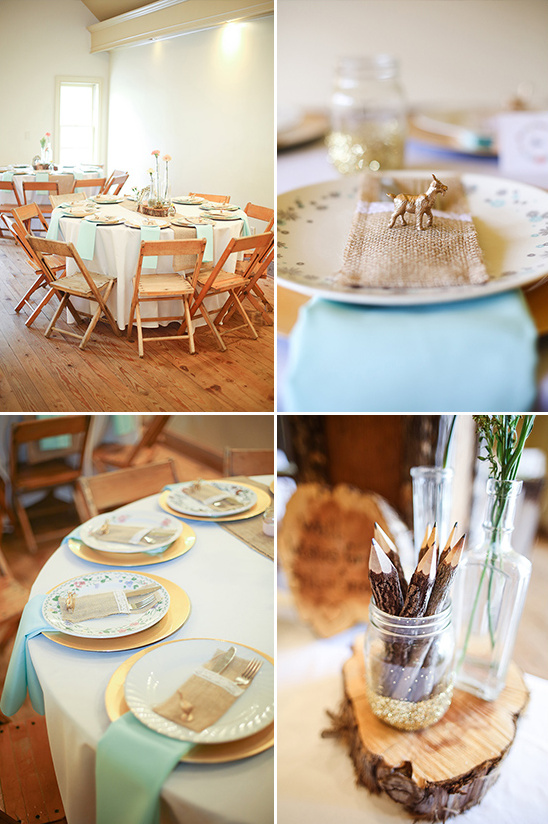 mint and gold rustic glam table decor