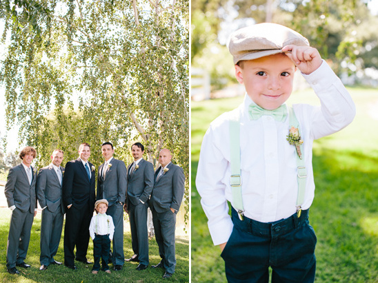grey suited groomsmen and dapper mint ring bearer