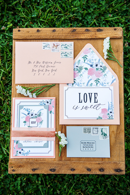 dusty pink floral wedding stationery