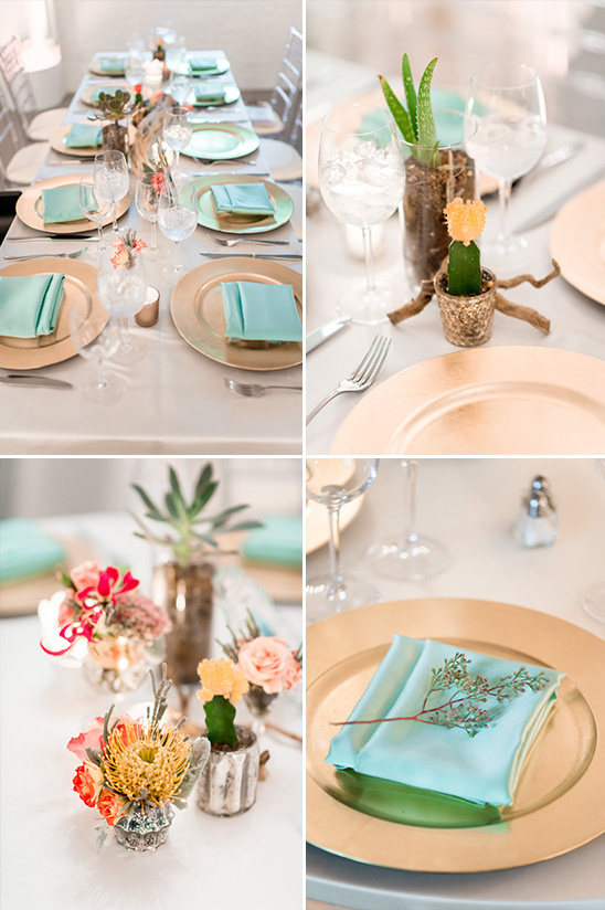 gold and teal dessert inspired tablescape