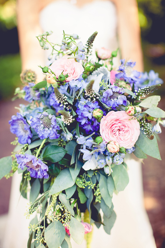 blue and pink cascading bouquet by Flower Monkey