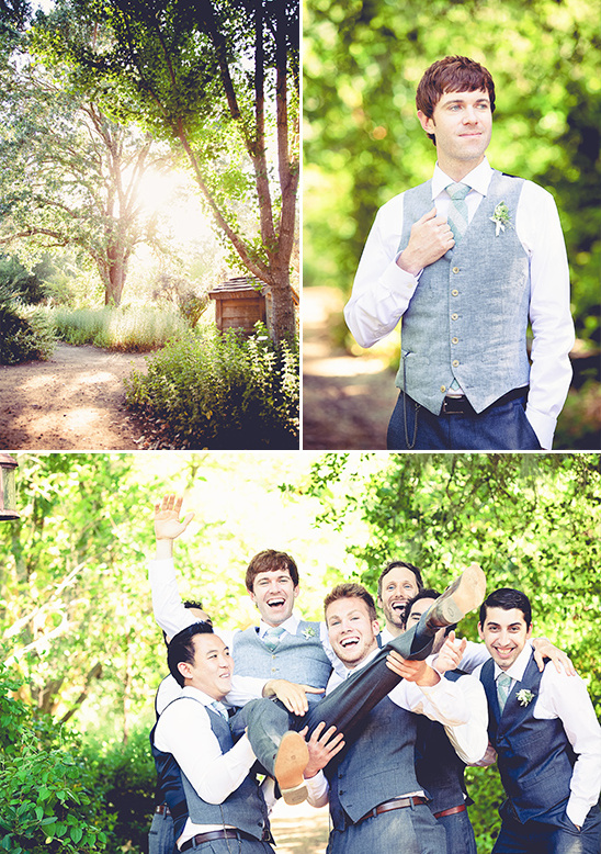 groom and groomsmen in vests