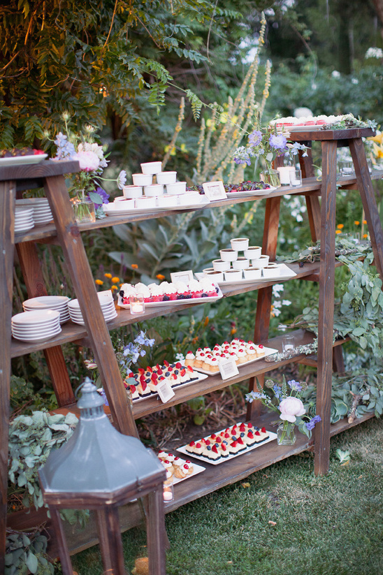 wooden ladder dessert display
