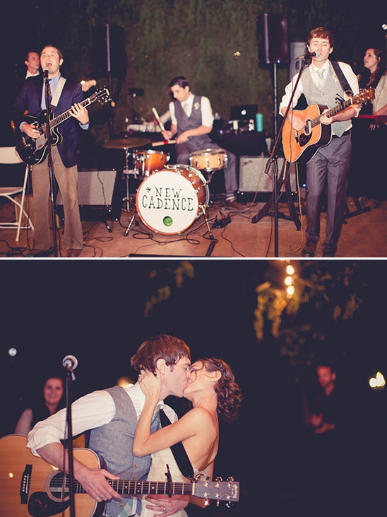 groom plays music for his bride