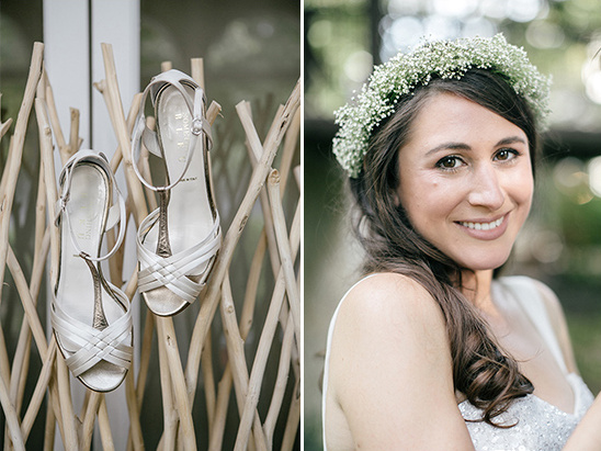 strappy heels and babys breath halo