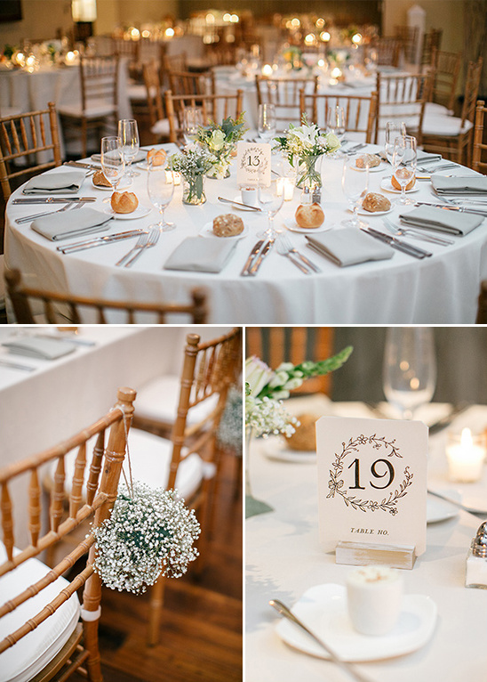 flower framed table number and babys breath seat decor