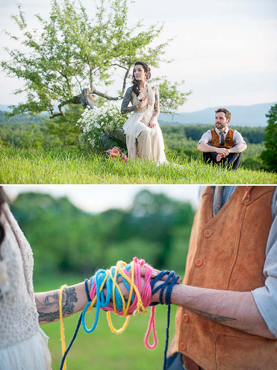 yarn tied hands ceremony tradition