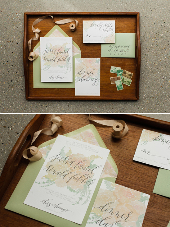 floral print wedding stationery