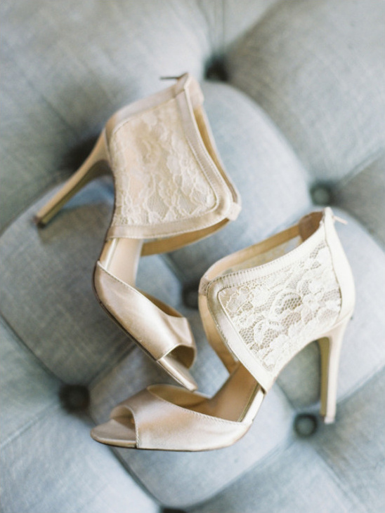 white and lace wedding shoes