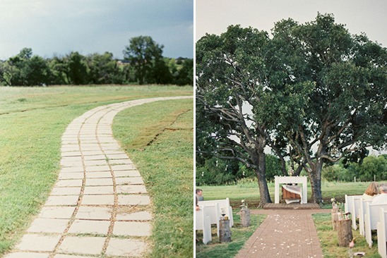 cute garden path wedding ceremony