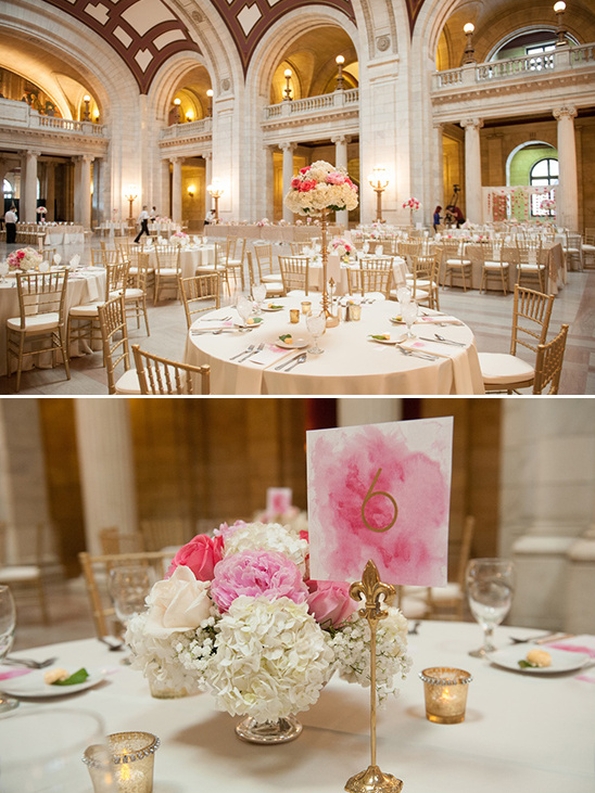 pink, gold and white wedding decor
