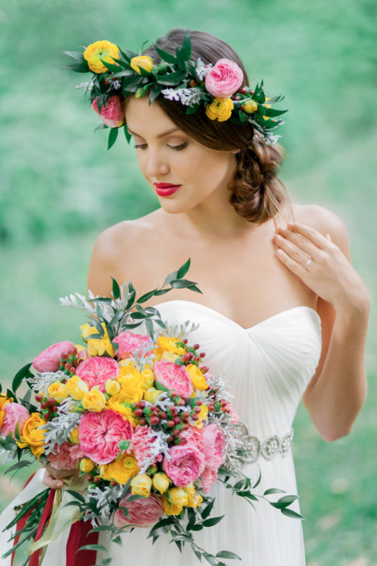 yellow, pink and green wedding bouquet