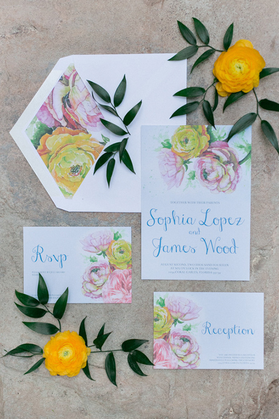 watercolor floral wedding stationery