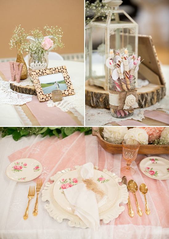 rustic vintage table settings and peppermint stick favors