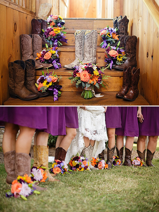 Purple Dresses with Cowboy Boots
