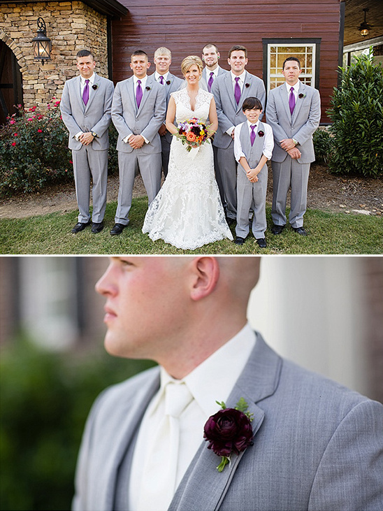 purple and gray groom style