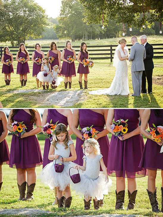 bridal party in purple