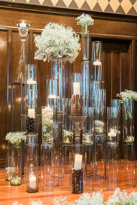 glass pillar wedding backdrop