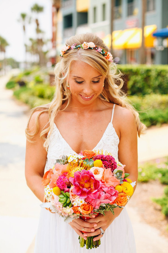 hot pink and yellow bouquet