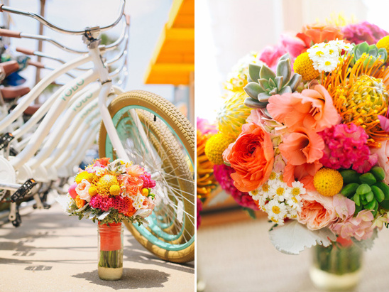 brightly colored beach bouquet