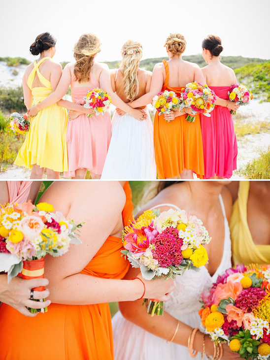 vibrant bridesmaid dresses in assorted styles