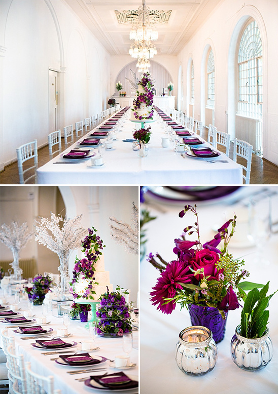 elegant purple and white reception