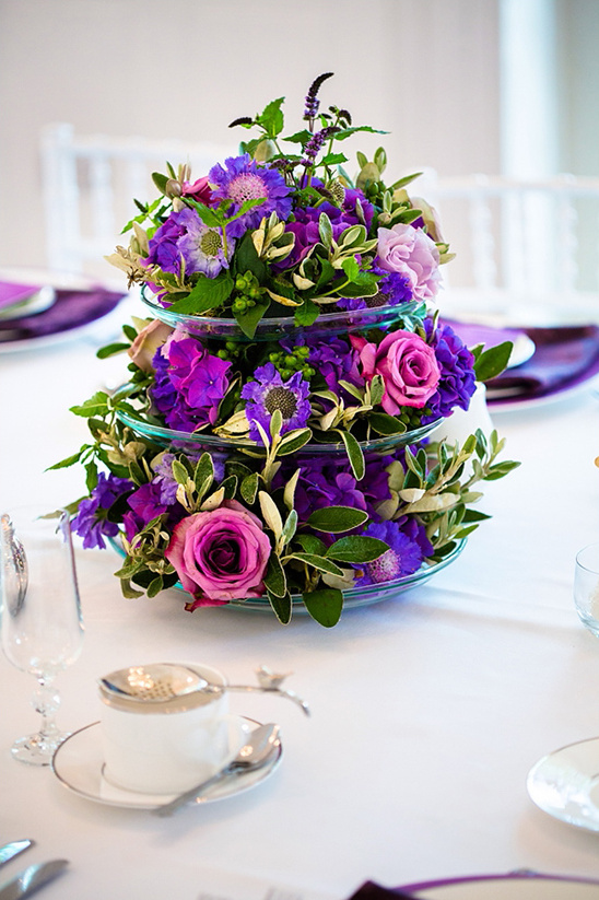purple floral tea time centerpieces