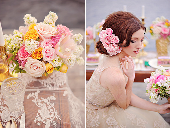 flower accented wedding updo