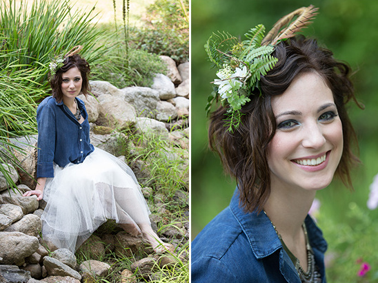 floral and feather hair piece