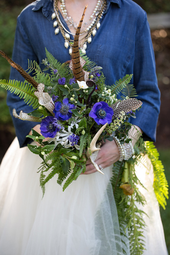 pheasant feather and floral bouquet