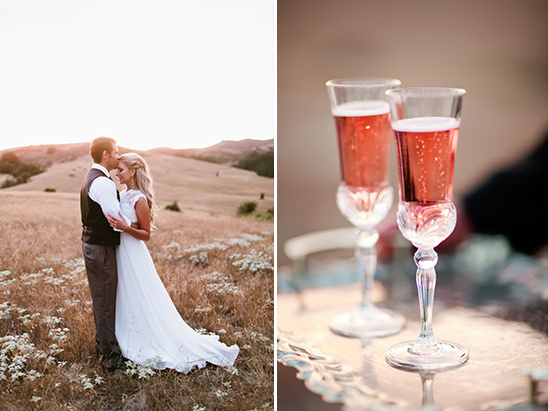 wedding kiss and pink champagne