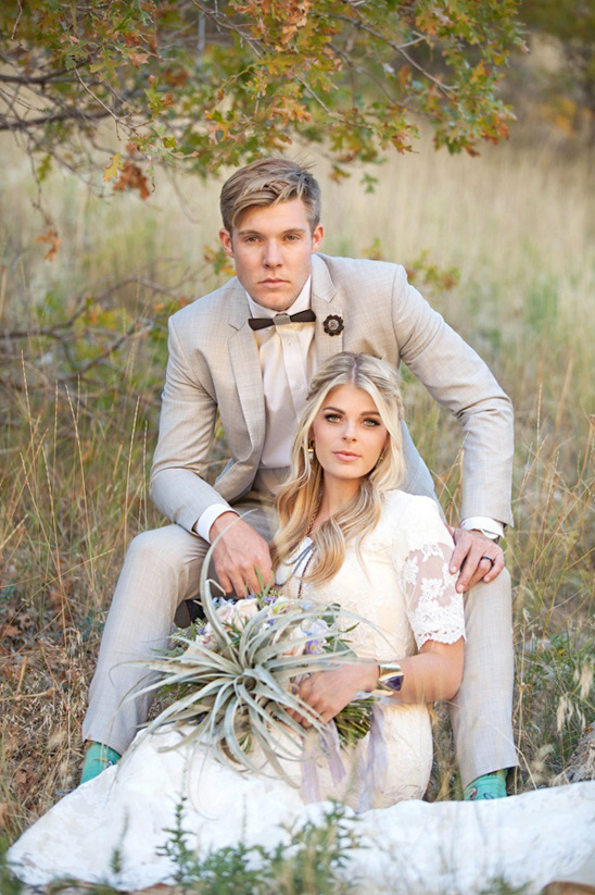 boho glam wedding couple