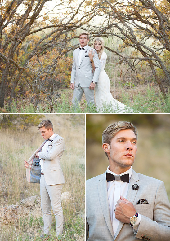 modern light grey groom look