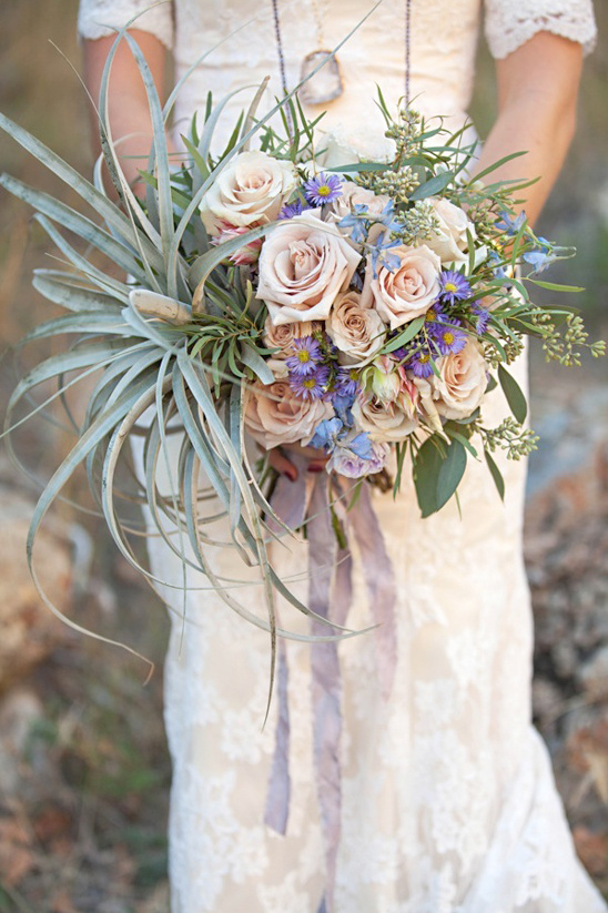 roses and air plant bouquet