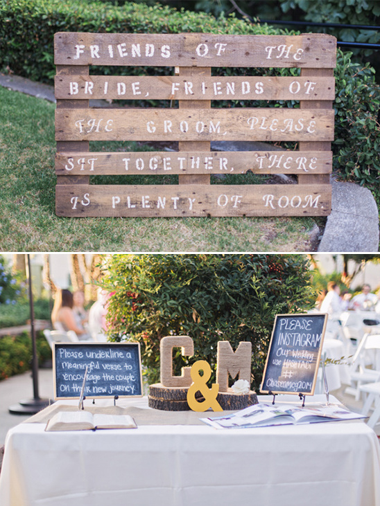 shipping pallet wedding sign and welcome table