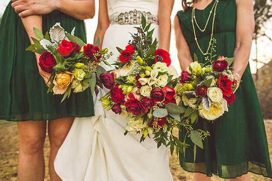 red and green bouquets