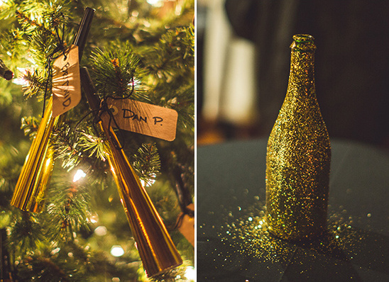 noise maker favors and glittery champagne