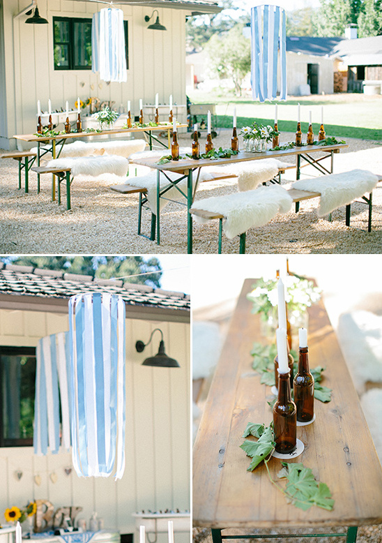 ribbon chandeliers and beer bottle candle holders