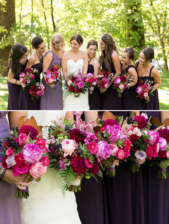 purple and pink bridesmaid ideas