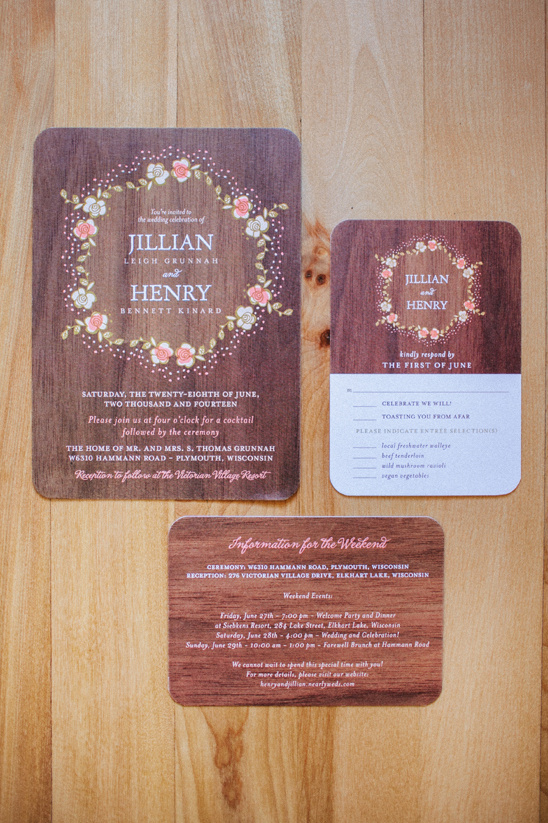 wooden themed wedding stationery