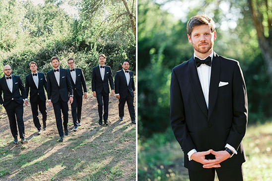 the groom and his men in classic tuxedos